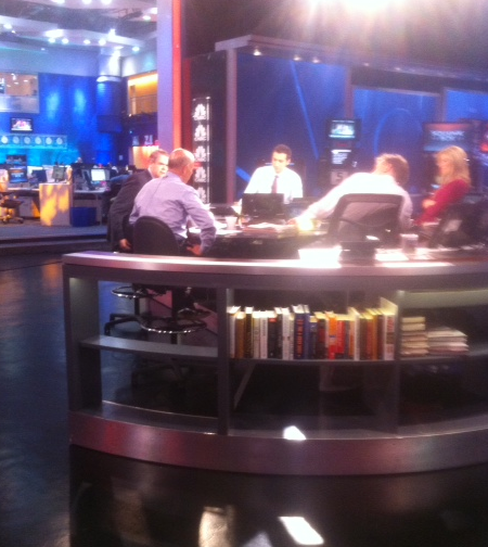 Preparing to go live on CNBC.