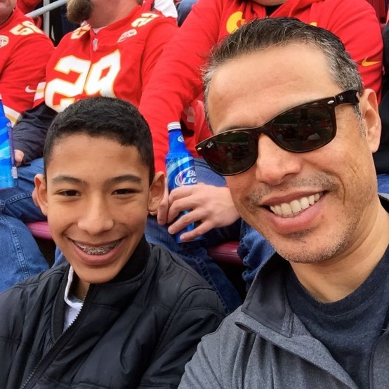 Steve Marin and son at Kansas City Chiefs game