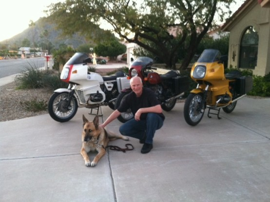 motorcycles and German Shepherd - Bert Oster