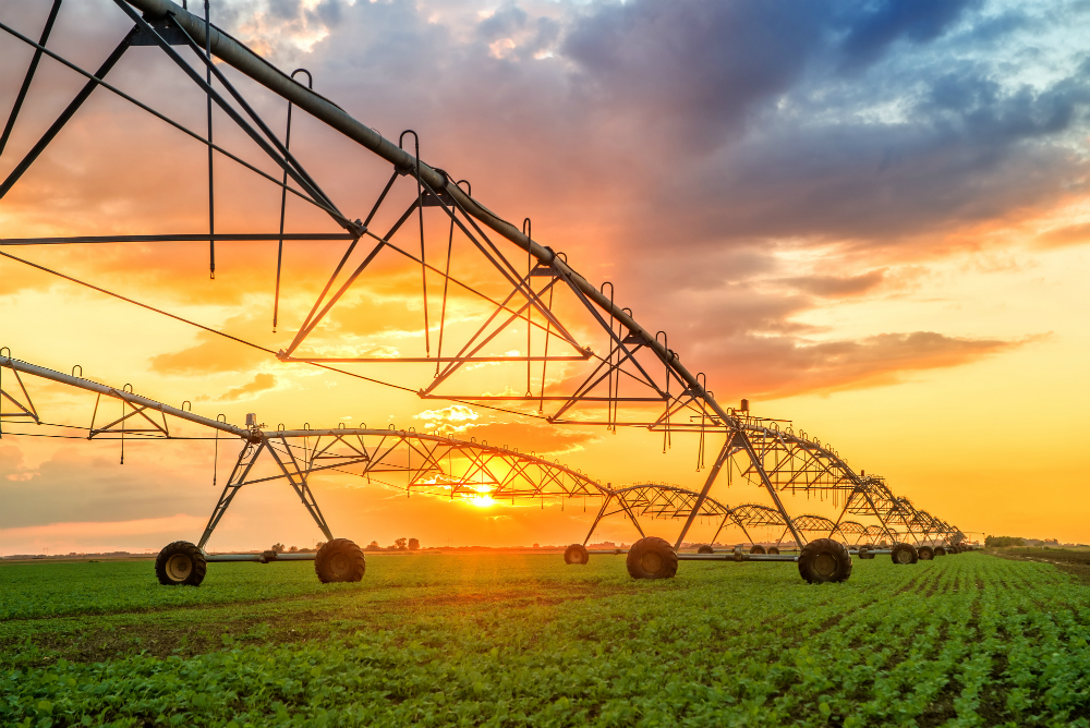 Large scale irrigation equipment waters young crops at sunrise