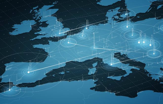 A blue map of western Europe that visualizes data transfer among nations