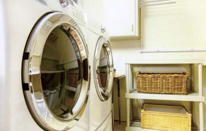 How to make a large purchase like the washer and dryer in this laundry room