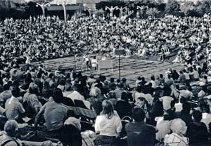 A large crowd at the Denver Botanic Gardens Summer Concert Series in the 1980s.
