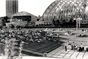 A small crowd at an early Denver Botanic Gardens Summer Concert Series event in the 1980s.
