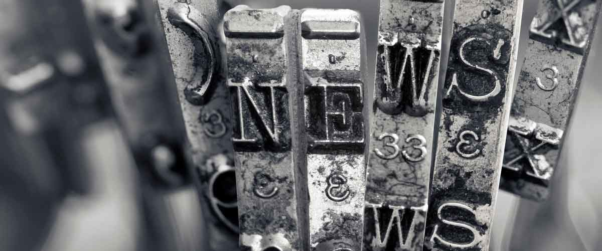 "The word ""NEWS"" to represent the UMB Monthly Media Update August 2019"