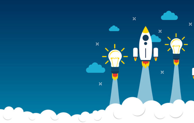 Rockets and light bulbs representing private equity innovation