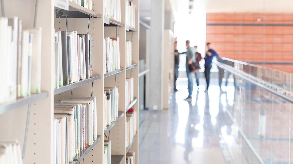 Library shelves at university