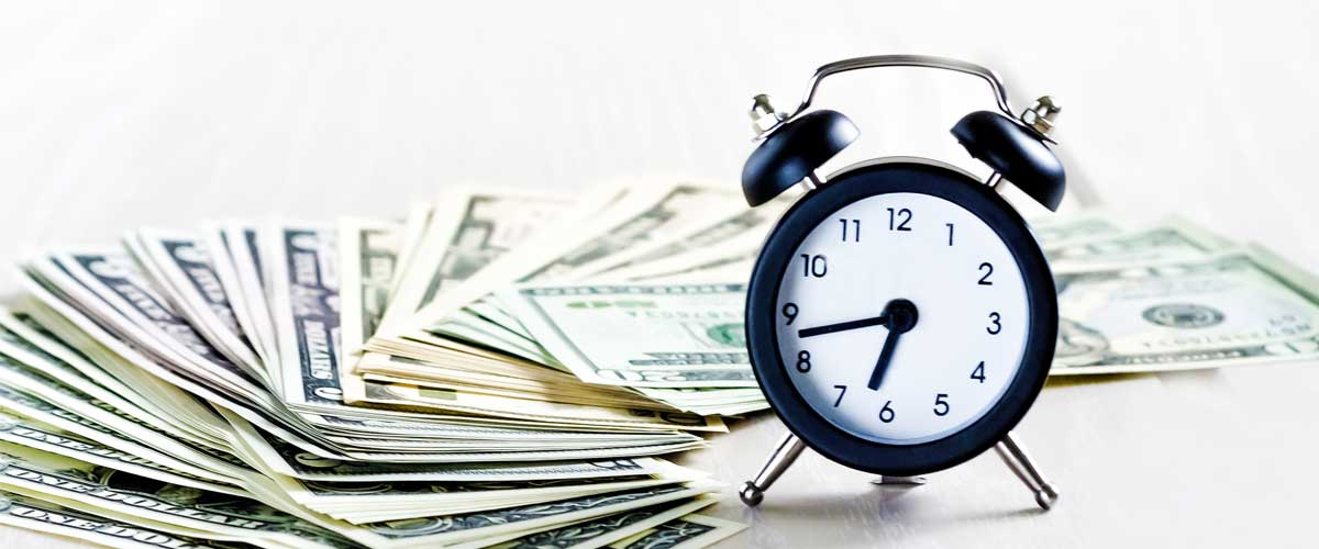 Dollar bills and a clock symbolize the need for quick escrow arrangements.