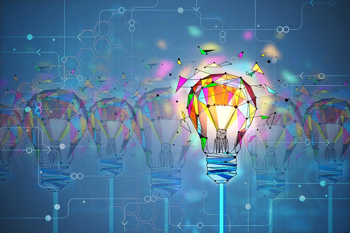 abstract light bulb illuminated