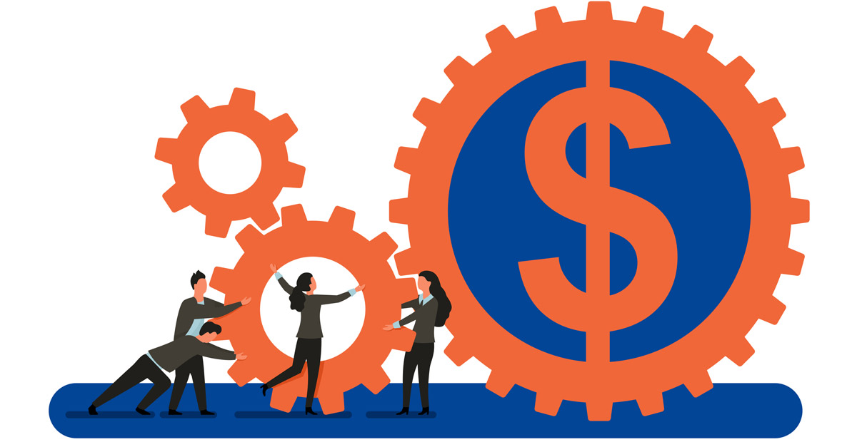 An illustration of gears, people and dollar signs representing UMB integrated payables solutions.