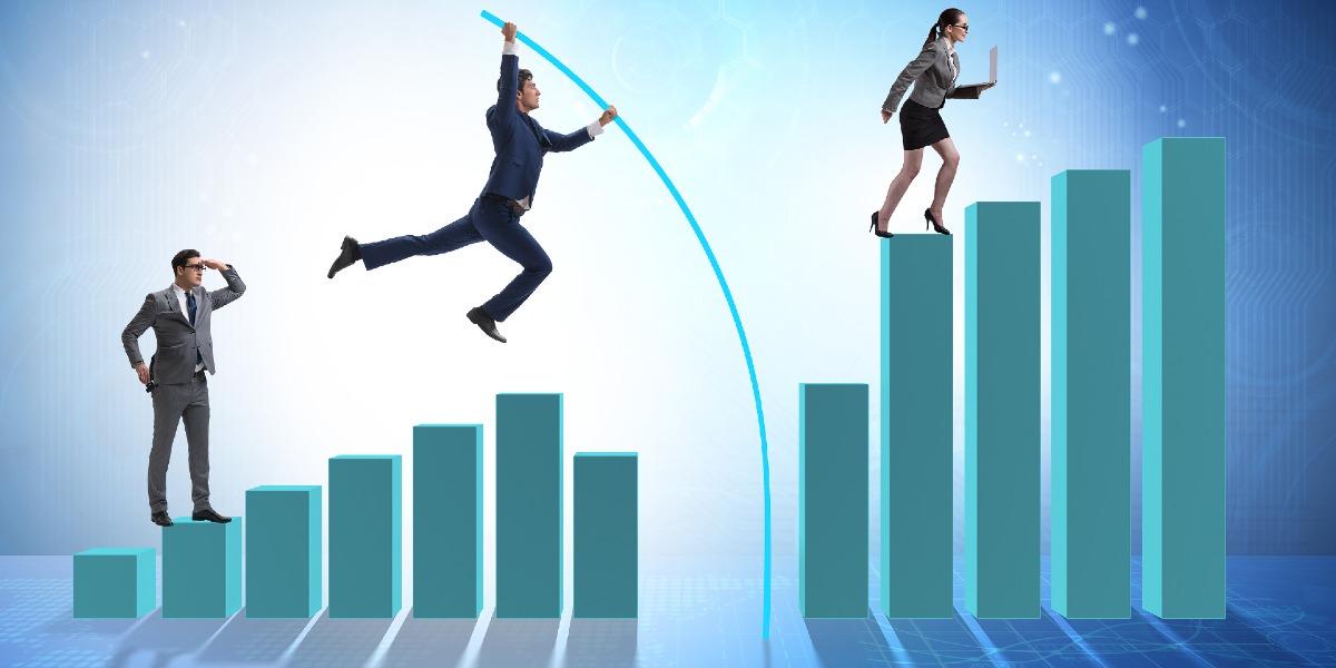 businessman vault jumping chart graphic