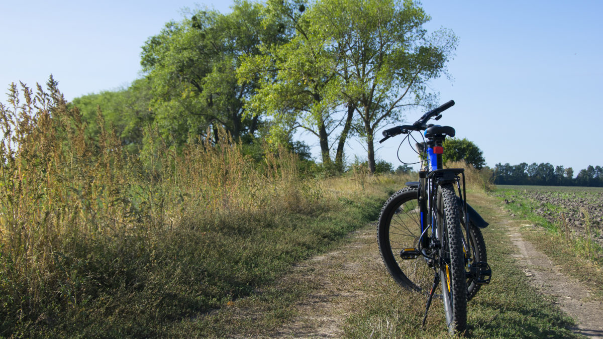 bigstock Bike Stands On In The Field A 413585945 scaled