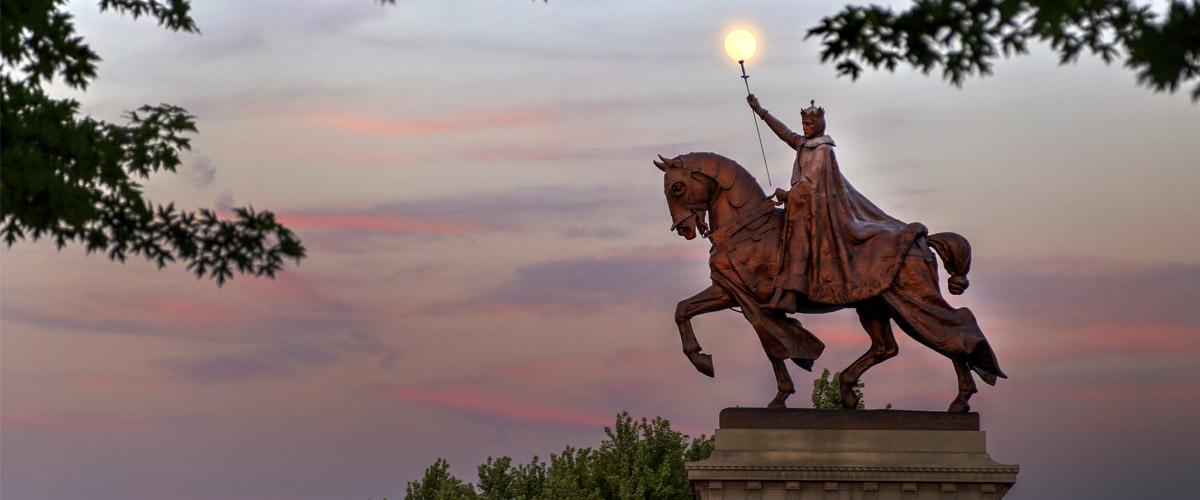 The St. Louis statue on Art Hill in St. Louis, Missouri.