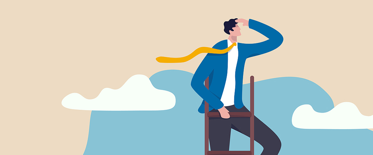 An illustration of a man on a ladder looking right to represent extreme optimism.