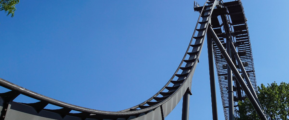 bigstock Rollercoaster Track Against A 359742304 1